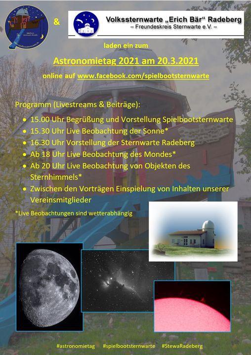 Flyer zum Online-Astronomietag  am 20.3.2021